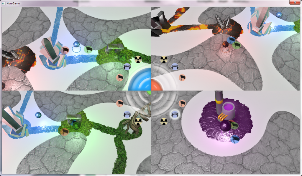 "A four player match of ColorIt on the map ""Organic Valley"""